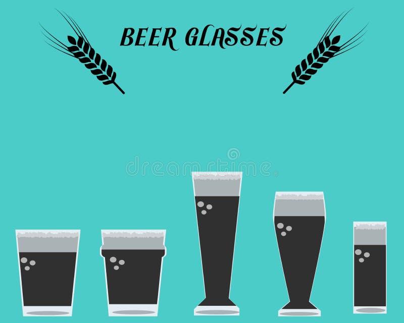 Wiele typ piwo Glasses01 ilustracja wektor