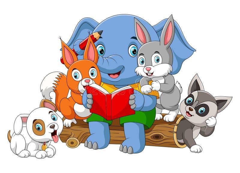 Wiele zwierzęca czytelnicza książka z dużym słoniem royalty ilustracja