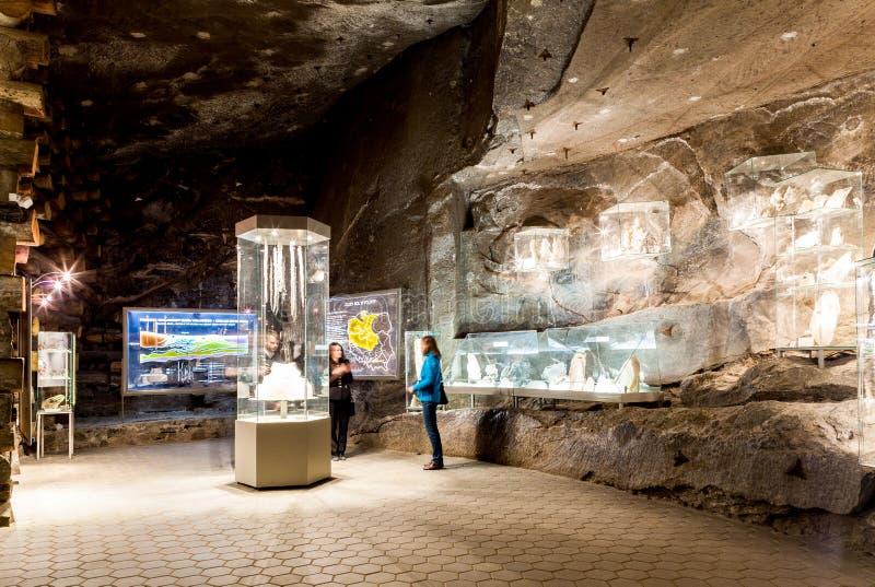 Wieliczka - la Pologne Exposition de musée de mine de sel images libres de droits