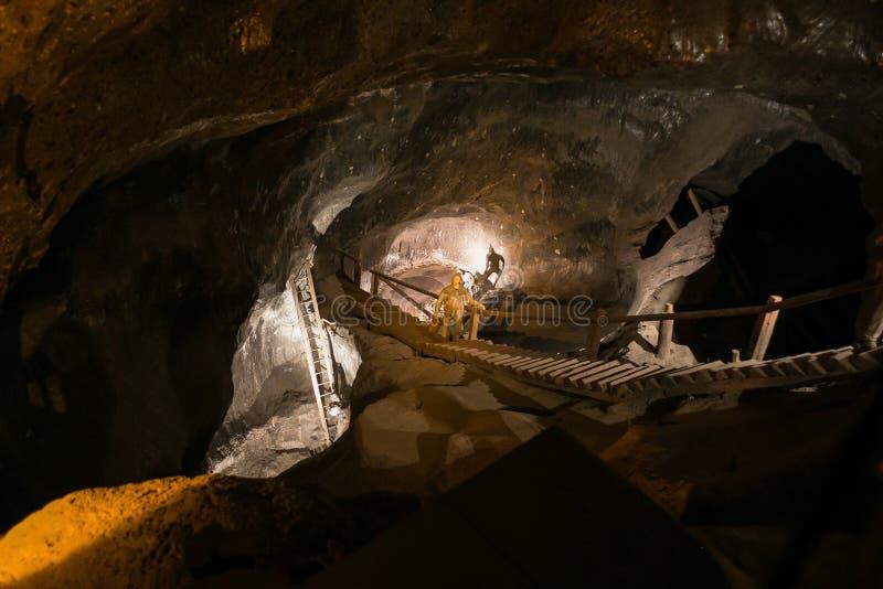 WIELICZKA, POLAND - MAY 28, 2016: Dummy miner in the Wieliczka Salt Mine. stock images