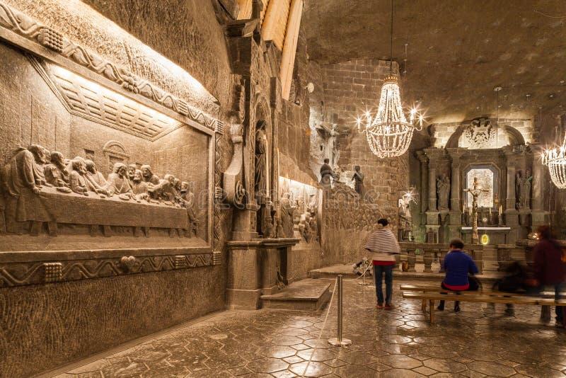 Wieliczka - Polen - Binnenland van St Kinga Chapel stock foto