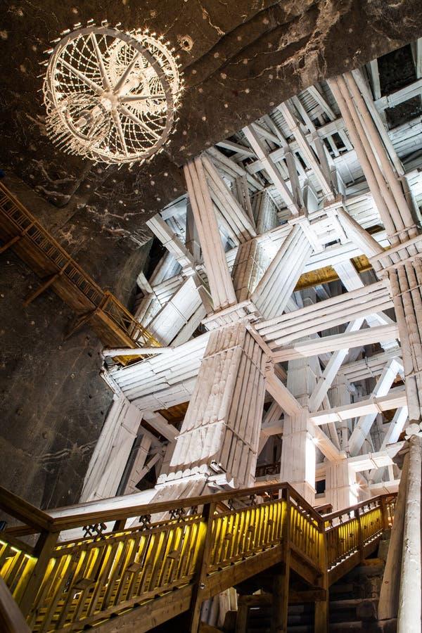Wieliczka, Polen, ondergrondse contsruction royalty-vrije stock foto