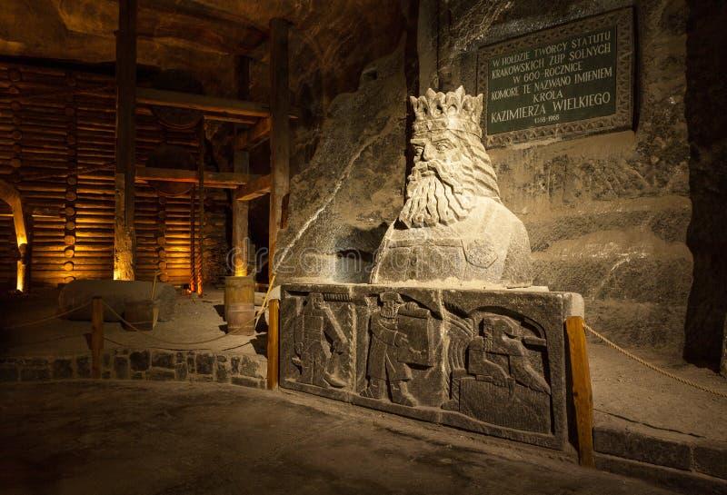 Wieliczka, Polen Zoutmijnmuseum stock afbeelding