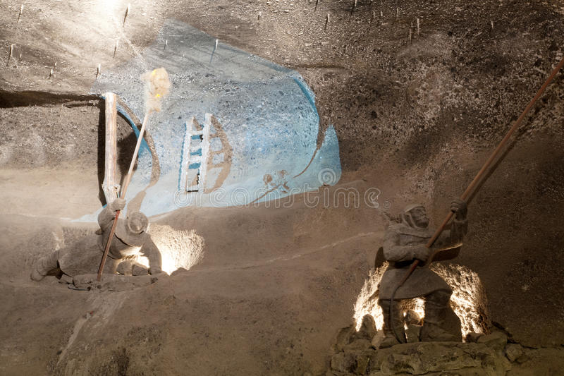 Wieliczka Salt Mine (13th century) stock images
