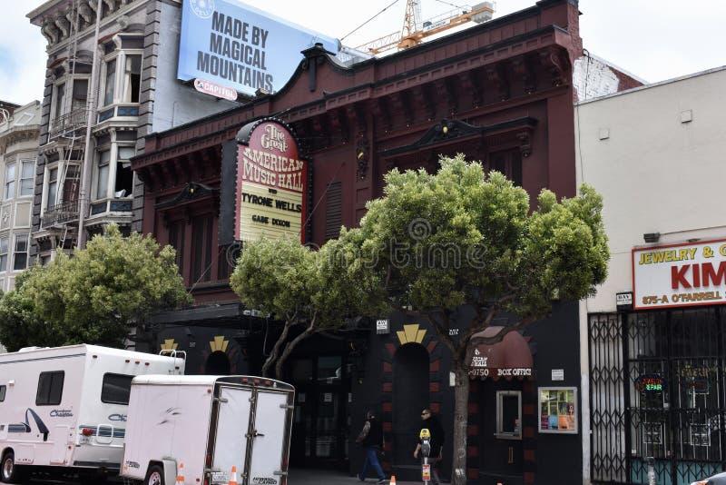 Wielka Amerykańska hala koncertowa, San Fransisco ` s nocy stary klub, 1 obrazy stock