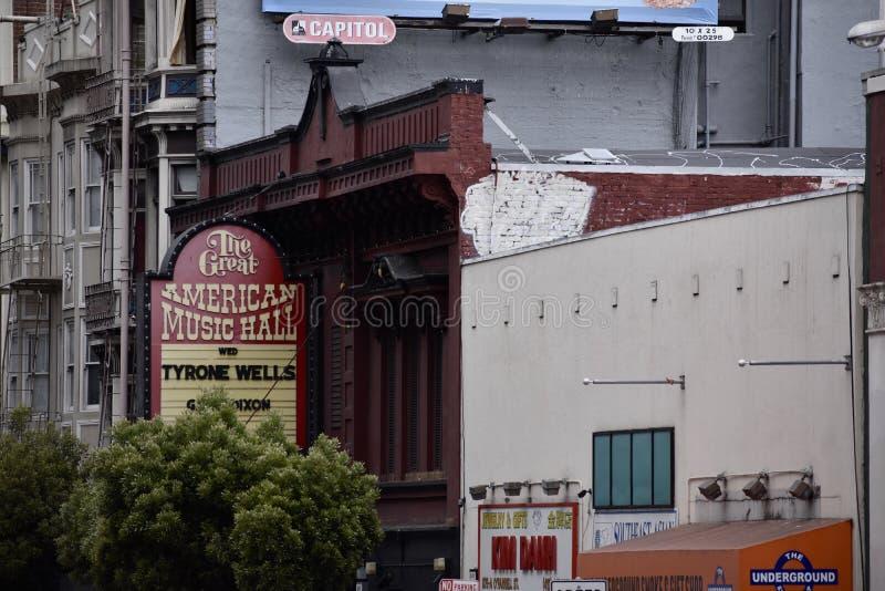 Wielka Amerykańska hala koncertowa, San Fransisco ` s nocy stary klub, 2 obrazy stock