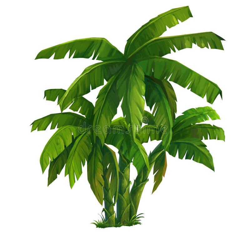 wielka bananów ' blisko green zostaw drzewa ilustracja wektor