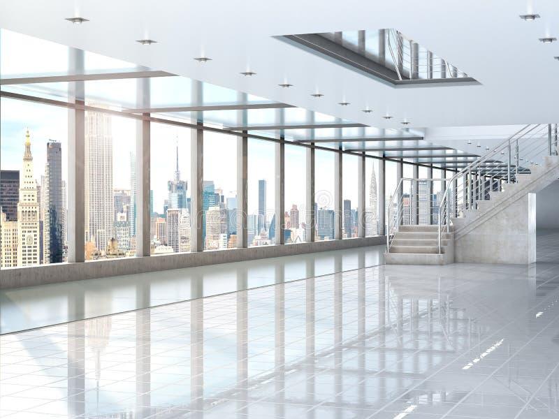 Wielka biała sala schody drugie piętro, dokąd tam jest panoramiczny okno Budujący pod centrum handlowym, biuro 3 ilustracja wektor