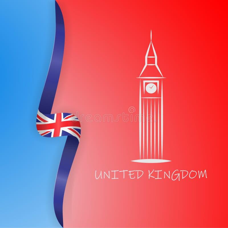 Wielka Brytania flaga, Big Ben w Londyn i Zjednoczone Królestwo flaga wektoru ilustracja ilustracja wektor