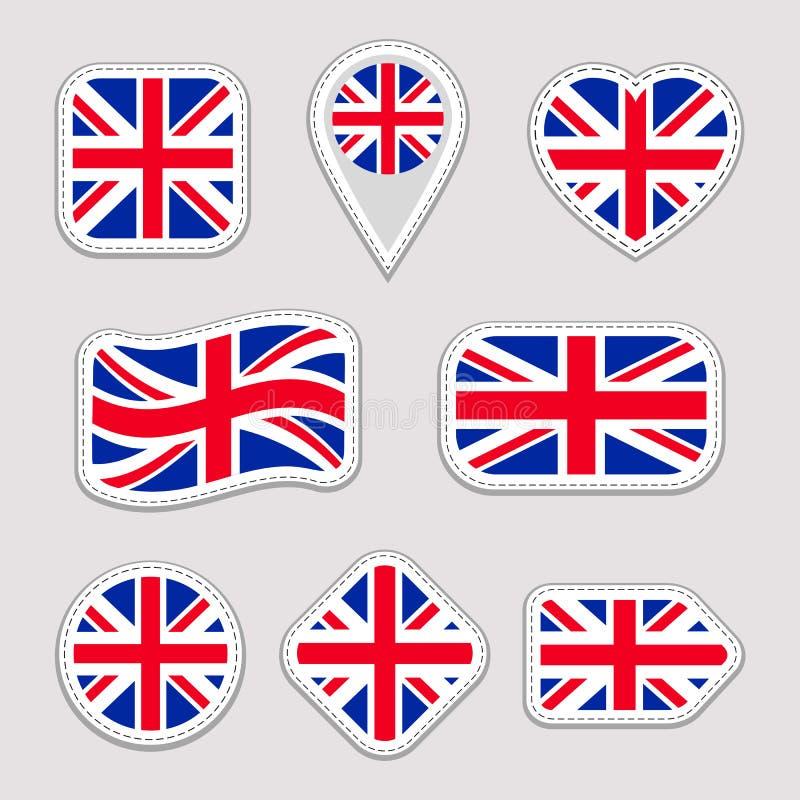 Wielka Brytania flaga kolekcja Wektor Zjednoczone Królestwo flaga państowowa majchery ustawiający Tradycyjni kolory Sieć, sport s royalty ilustracja