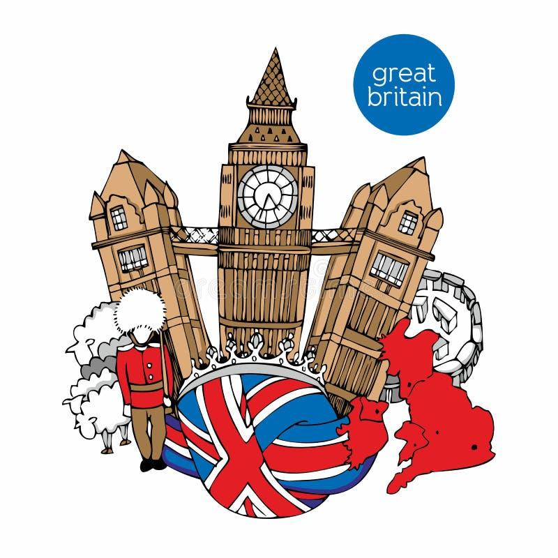 Wielka Brytania wektorowa pociągany ręcznie ilustracja royalty ilustracja