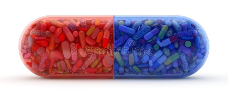 Wielka czerwieni i błękita pigułka wypełniał z kolorowymi pigułkami ilustracji
