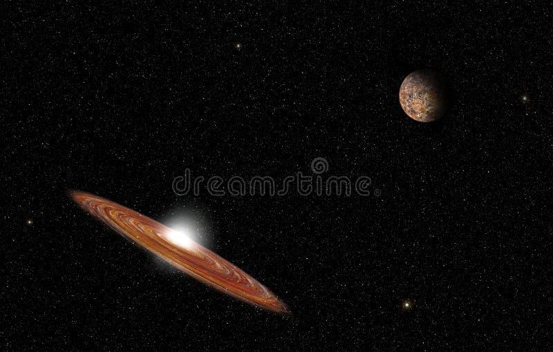 Wielka galaktyka i planeta w głębi kosmosu z niebem pełnym gwiazd obrazy stock
