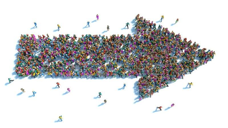 Wielka grupa ludzi stojąca w formie strzała royalty ilustracja