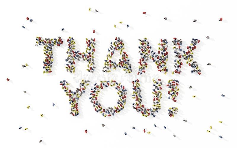 Wielka grupa ludzi tworzy zwrot Dziękuje ciebie ilustracji