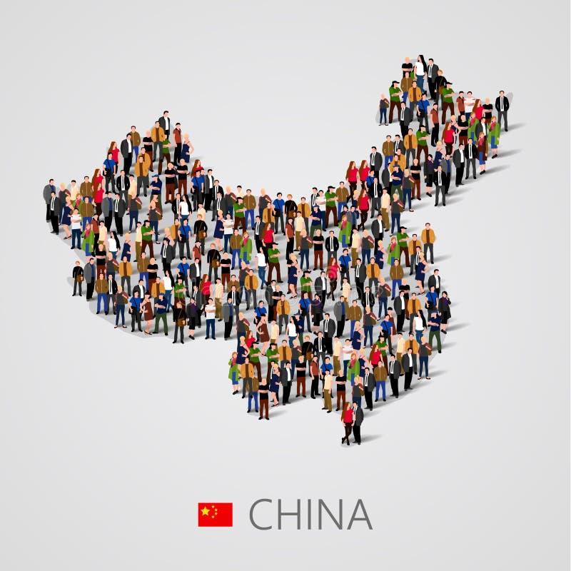 Wielka grupa ludzi w Porcelanowej mapy formie Populacja Chiny lub demografia szablon ilustracji