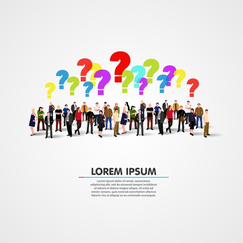 Wielka grupa ludzi z pytaniami royalty ilustracja