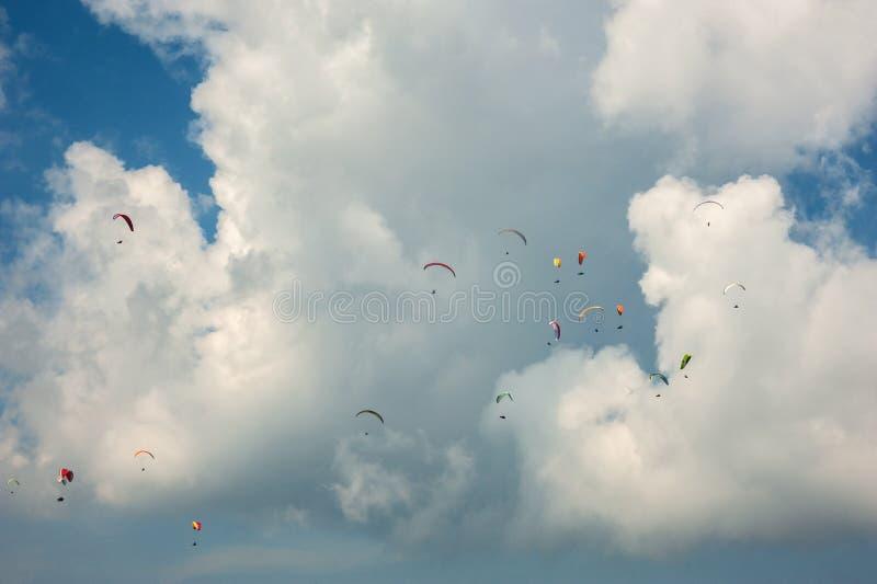 Wielka grupa paragliders lata w niebie przeciw tłu chmury zdjęcie royalty free