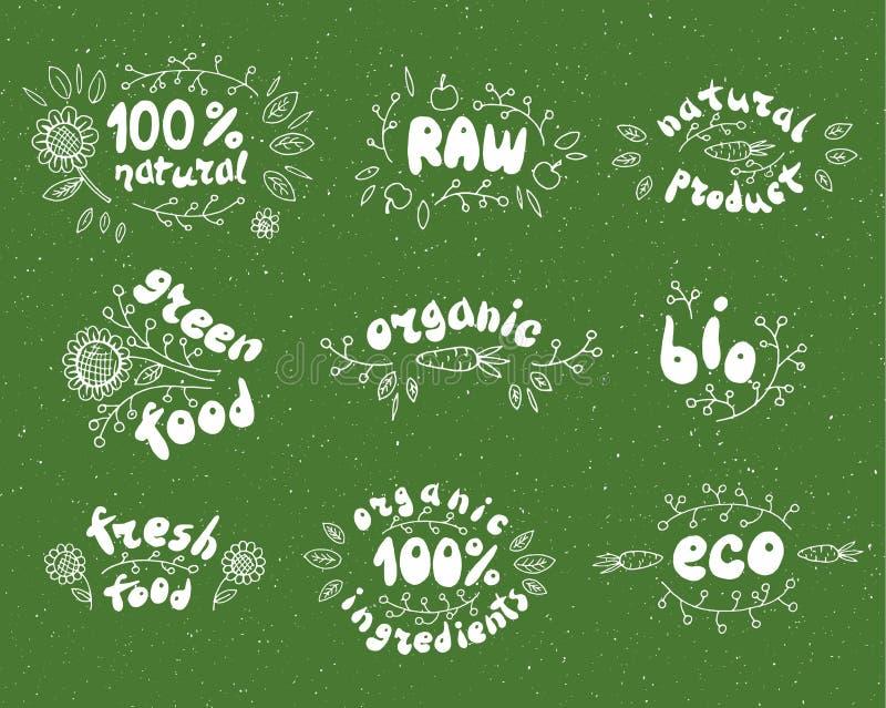 Wielka ilości etykietka 100% świeży, życiorys, organicznie, eco jedzenie Surowy, zielony produkt, Wektorowy ustawiający zdrowe ży ilustracji