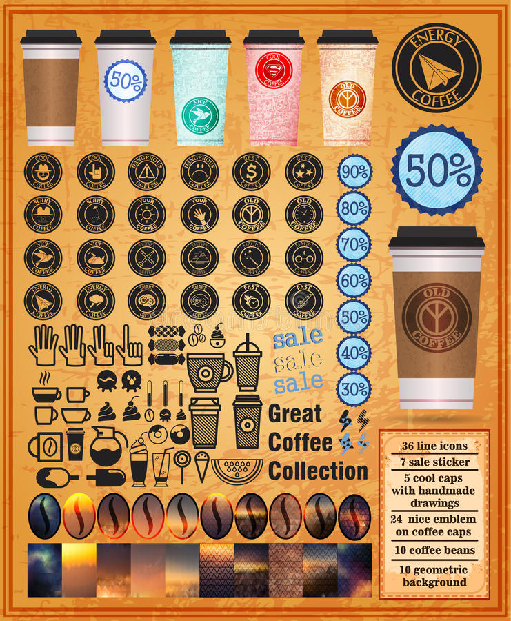 Wielka kawowa kolekcja z filiżankami kawowymi fotografia stock