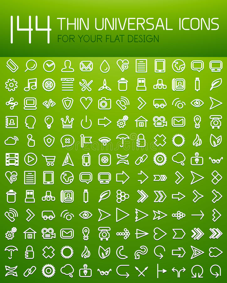 Wielka kolekcja cienki ogólnoludzki sieci ikony set ilustracja wektor