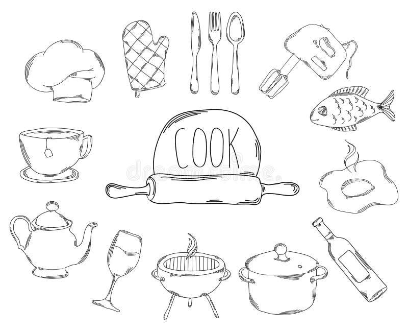 Wielka kolekcja kreskowe ikony w ręka rysującym stylu dla zawodu kucharz wektor ilustracji