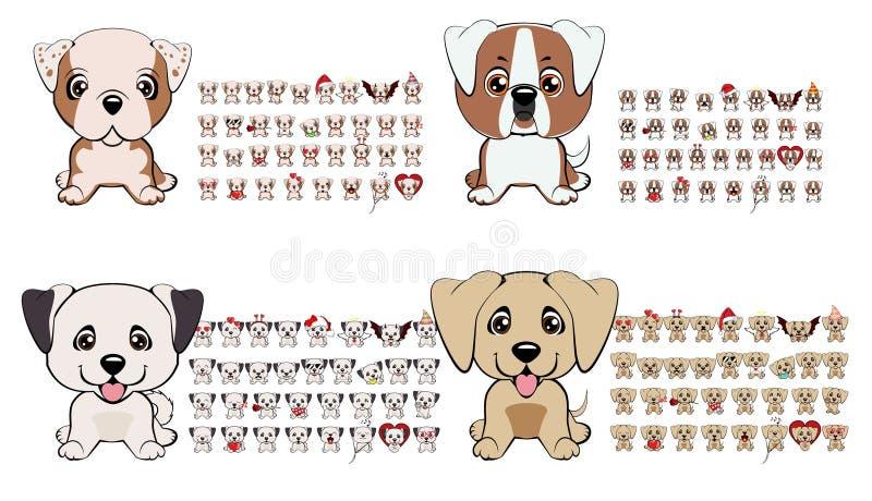 Wielka kolekcja psy różni trakeny z różnymi emocjami i różnymi przedmiotami ilustracja wektor