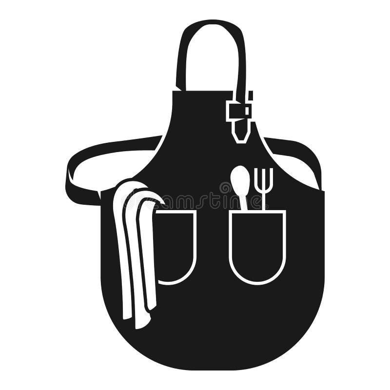 Wielka kuchenna fartuch ikona, prosty styl ilustracji