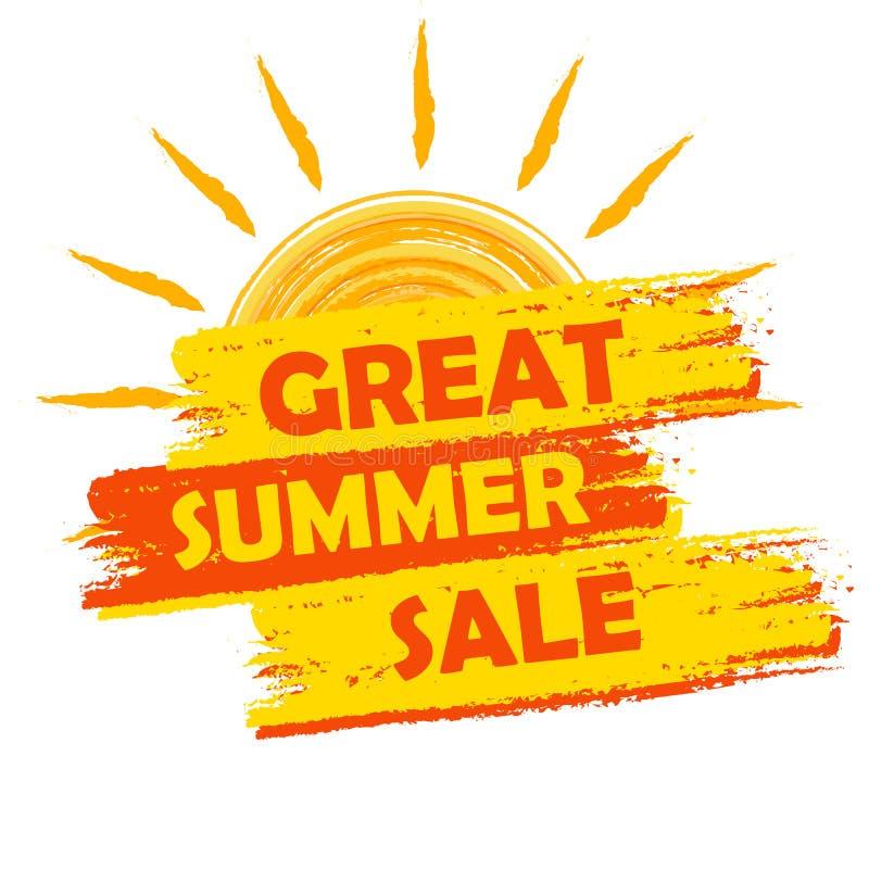 Wielka lato sprzedaż z słońce znakiem, kolorem żółtym i pomarańcze rysującą etykietką, ilustracja wektor