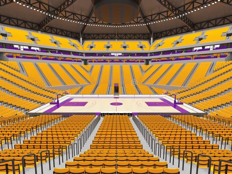 Wielka nowożytna koszykówki arena z żółtymi siedzeniami ilustracja wektor