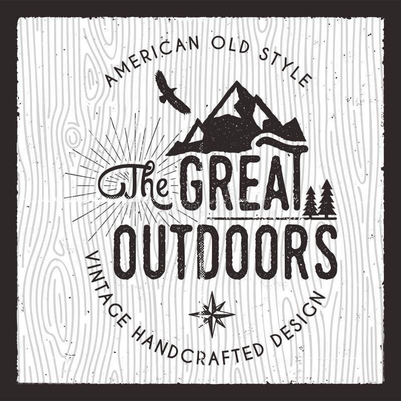 Wielka Outdoors karta Podróżomanii Campingowa odznaka Stary wyga rysować t druku odzieży koszulowe grafika Retro typograficzny ilustracji