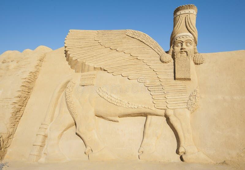 Wielka piasek rzeźba Lamassu bóstwo zdjęcia royalty free