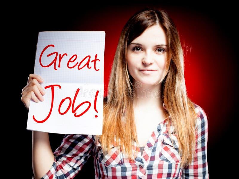 Wielka praca, szkolny egzamin i szczęśliwa dziewczyna, ilustracja wektor