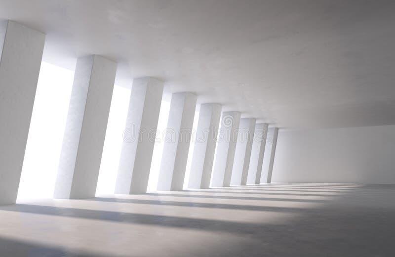 Wielka przemysłowa sala, samochodowy parking lub budynek biurowy z światłem dziennym, ocieniamy na podłodze ilustracji