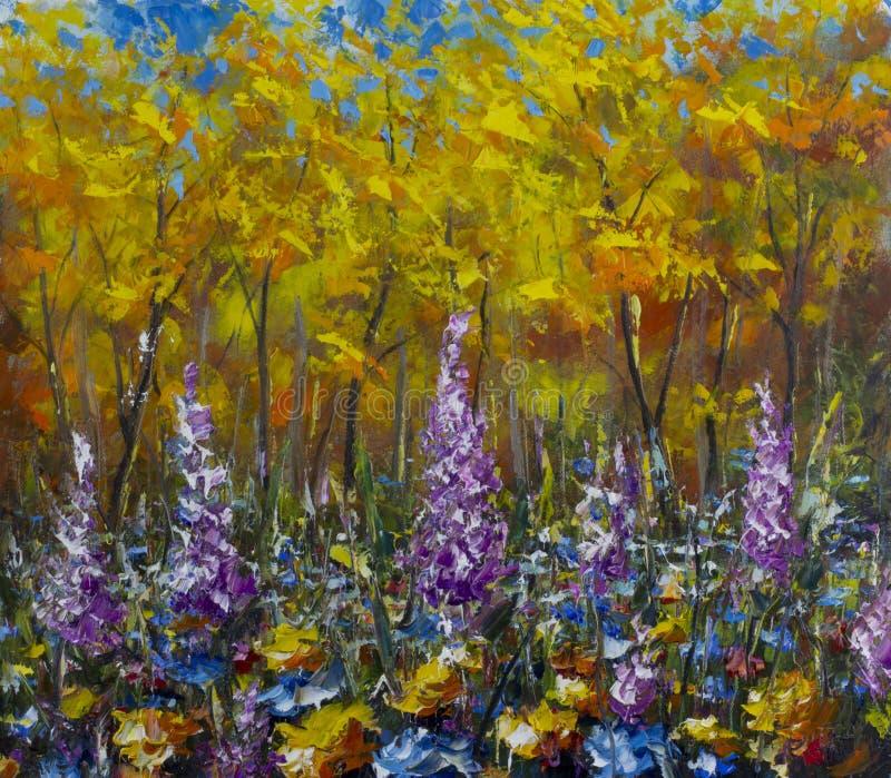 Wielka purpura kwitnie w łące w jesień lesie, żółci liście, jesień royalty ilustracja