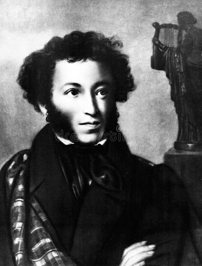 Wielka Rosyjska poeta Aleksander Pushkin, portret ilustracji