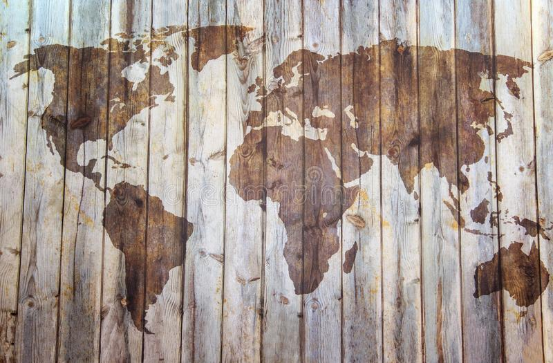 Wielka szczegół ilustracja światowa mapa w rocznika stylu z wszystkie kraj granicami zdjęcie stock