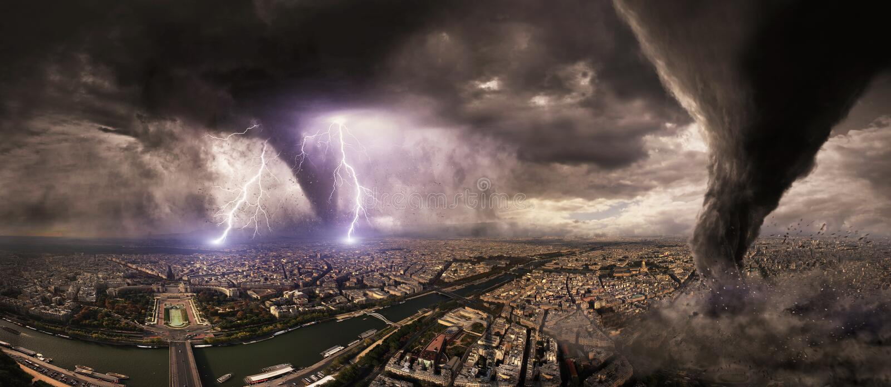 Wielka tornado katastrofa na mieście royalty ilustracja