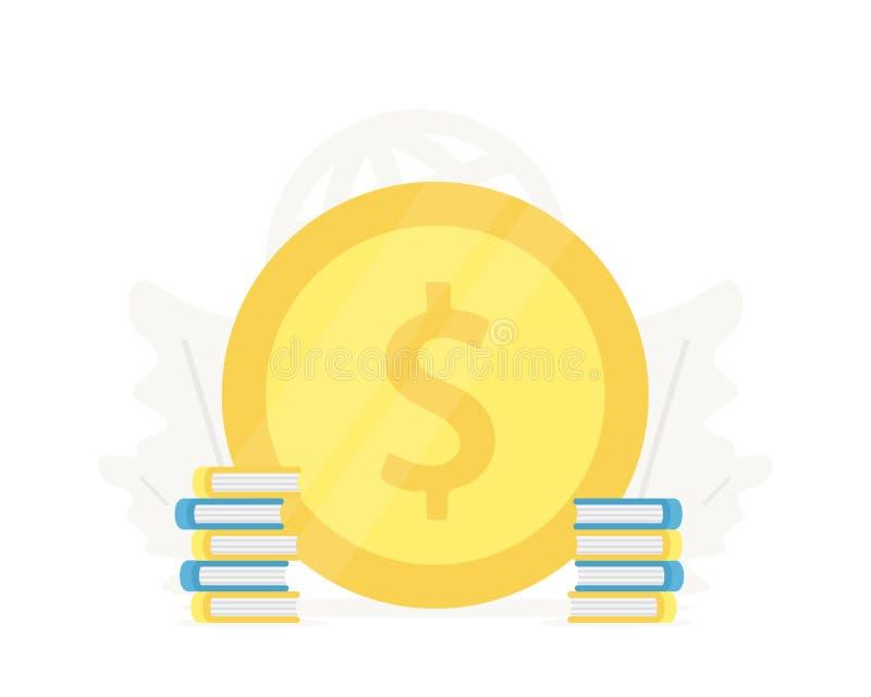 Wielka złocista moneta z książki ilustracją Inwestycja w edukacja biznesu prezentacjach na białym tle Pojęcie ilustracji