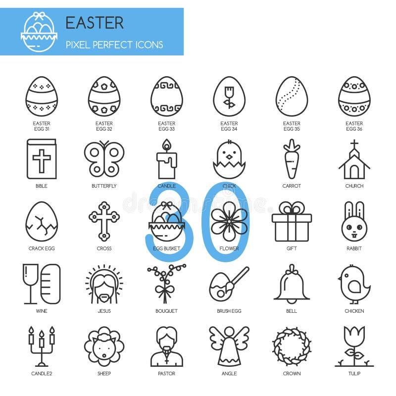 Wielkanoc, cienieje kreskowe ikony ustawiać ilustracja wektor