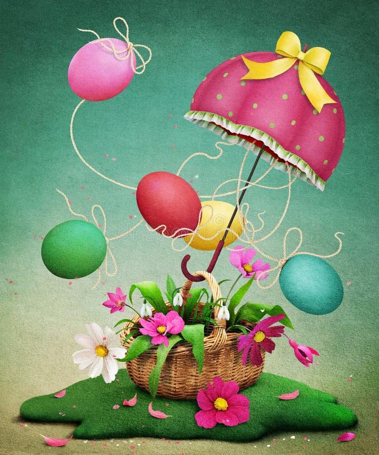 Wielkanoc, jajko, parasol i kosz, royalty ilustracja