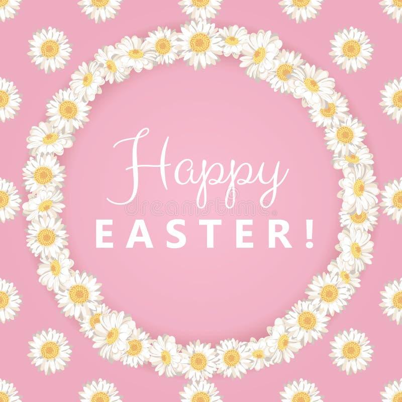 Wielkanoc karty szczęśliwy Chamomile round rama na różowym tle ilustracji