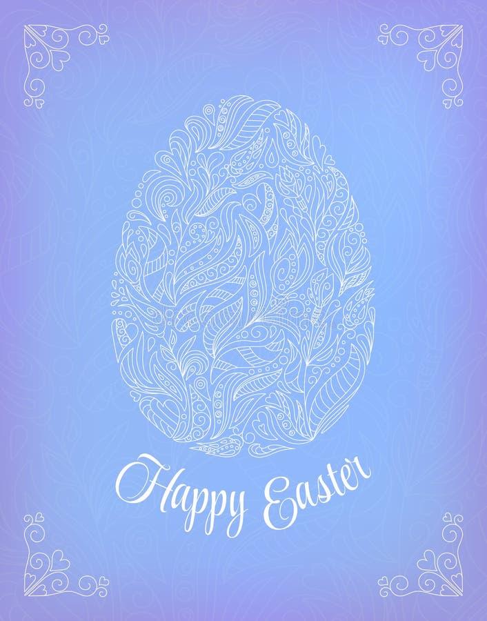 Wielkanoc karty szczęśliwy Doodle ozdobnego białego kwiecistego jajko i literowanie na błękitnym tle ilustracja wektor