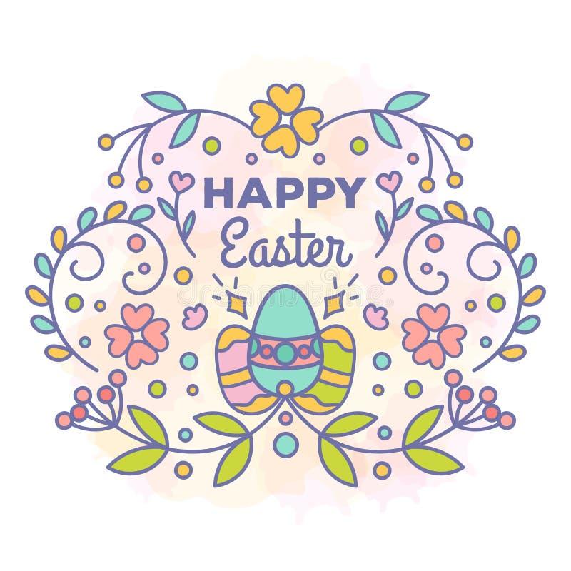 Wielkanoc karty szczęśliwy Kwiecisty projekt z jajkami ilustracja wektor