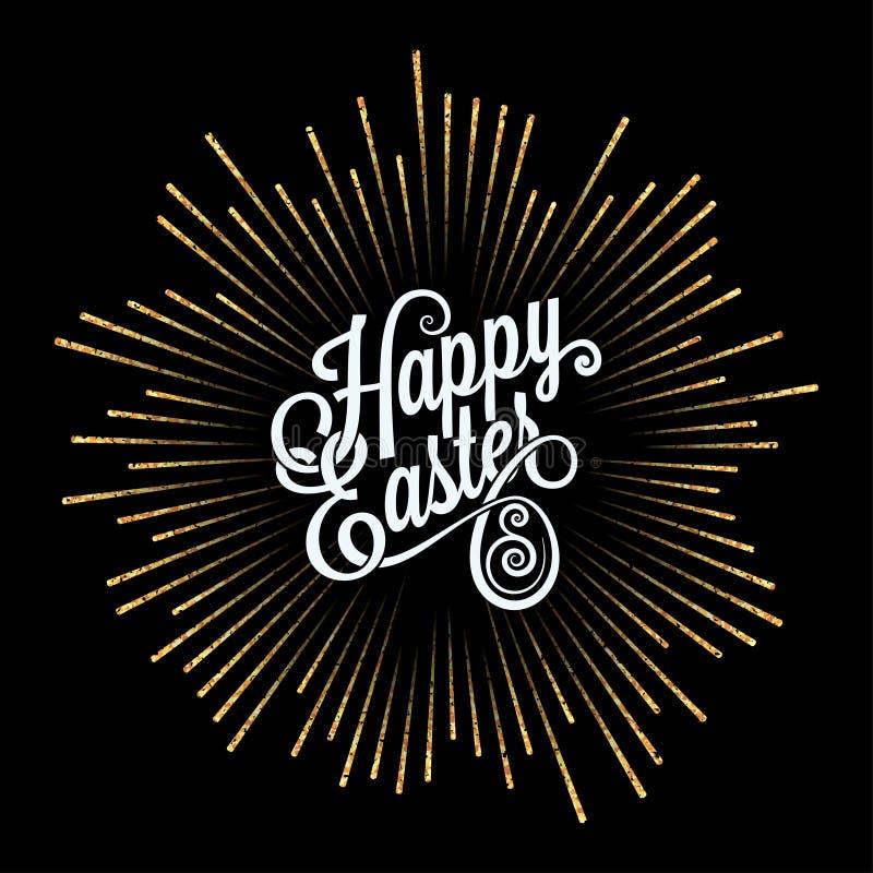 Wielkanoc karty Złoty Lekkich promieni tło royalty ilustracja