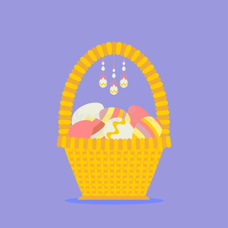 Wielkanoc koszykowi jaj ilustracja wektor