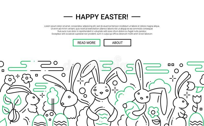 Wielkanoc - kreskowy projekt strony internetowej sztandar ilustracji