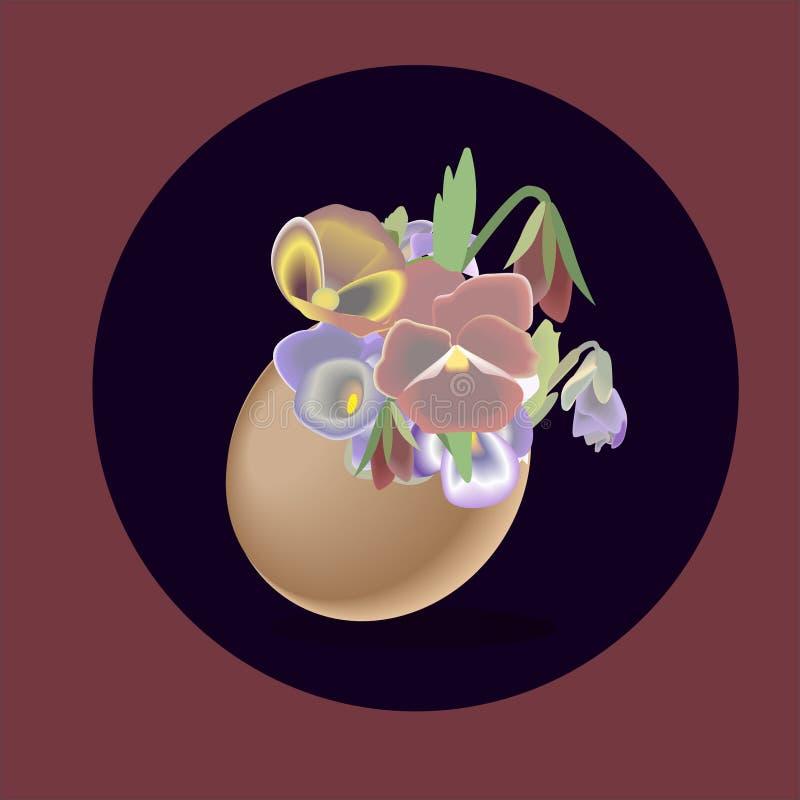 Wielkanoc kwitnie wakacyjnej jajko wiosny pocztówkowego ilustracyjnego wektor royalty ilustracja
