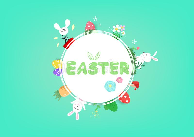 Wielkanoc, okręgi obramia, kwiecistej dekoracji wiosny sezonowy wakacje, uroczy królik, wita zaproszenia tła plakatowego wektor ilustracji