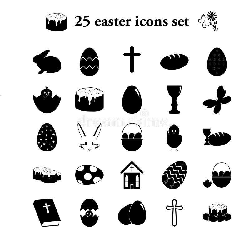 Wielkanoc 25 prostych ikon ustawiających obraz stock